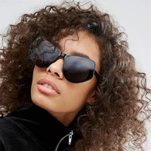 Spitfire Angular Cat Eye Sunglasses in Black with Flat