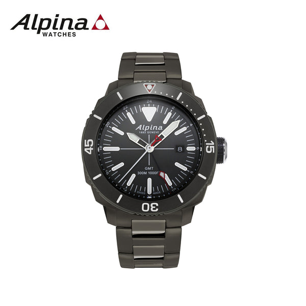 ALPINA - Seastrong Diver  Watch with Stainless steel Black  strap