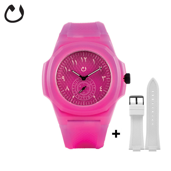 Nuun - Watch TCA - Fuscia  with two Straps