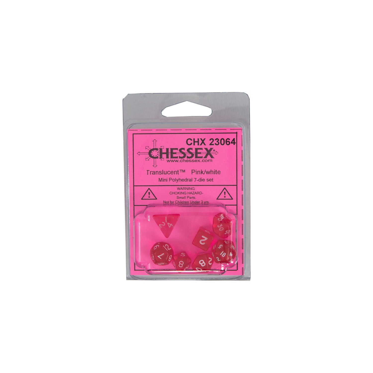 Chessex CHX23064 Mini Pink w/ white Translucent Polyhedral Dice Set