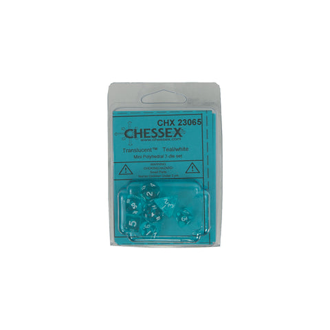 Chessex CHX23065 Mini Teal w/ white Translucent Polyhedral Dice Set