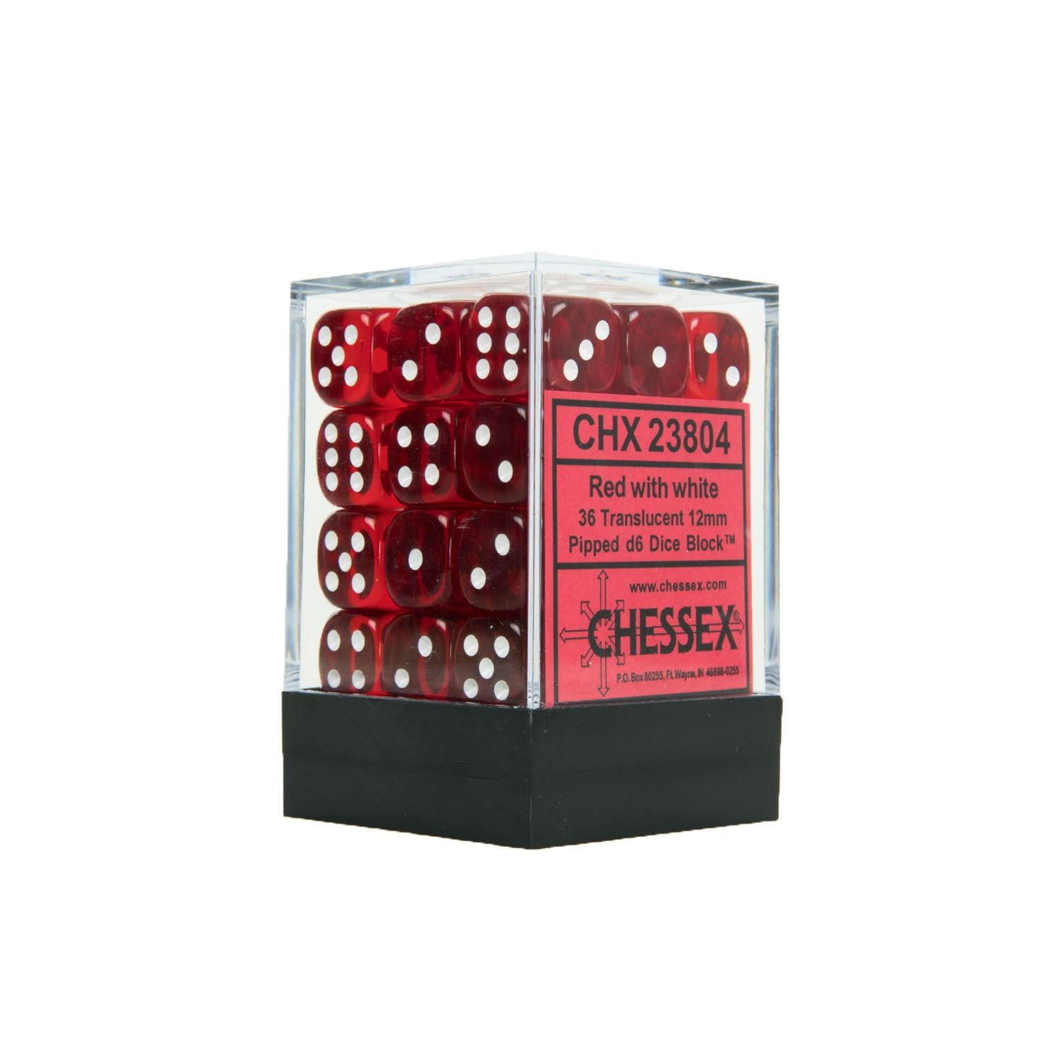 Chessex CHX23804 36 Red w/ white Translucent 12mm d6 Dice Block
