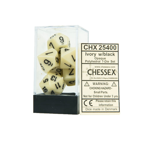 Chessex CHX25400 Opaque Ivory w/black Polyhedral Dice Set