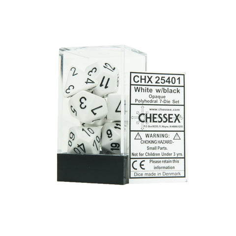 Chessex CHX25401 Opaque White w/black Polyhedral Dice Set