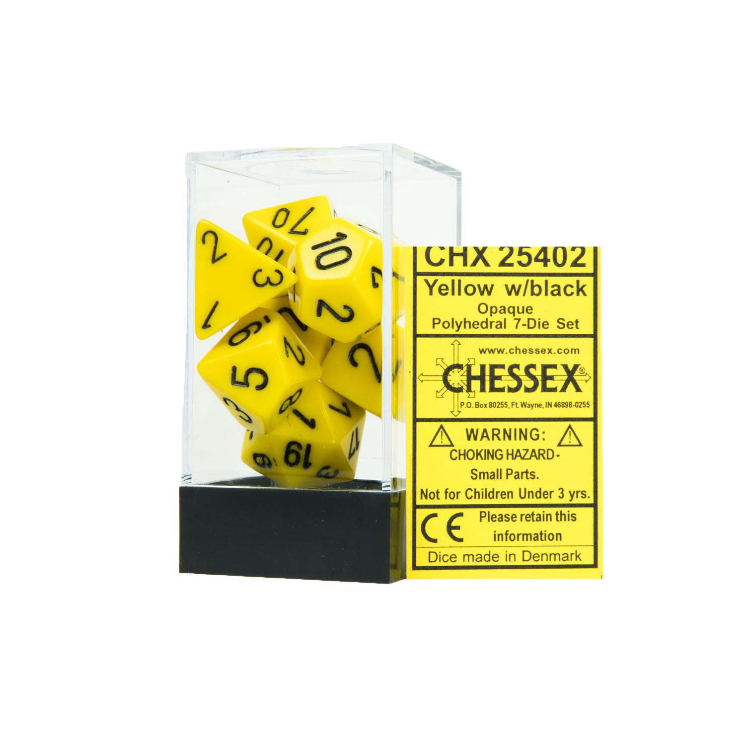 Chessex CHX25402 Opaque Yellow w/black Polyhedral Dice Set