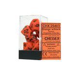 Chessex CHX25403 Opaque Orange w/black Polyhedral Dice Set