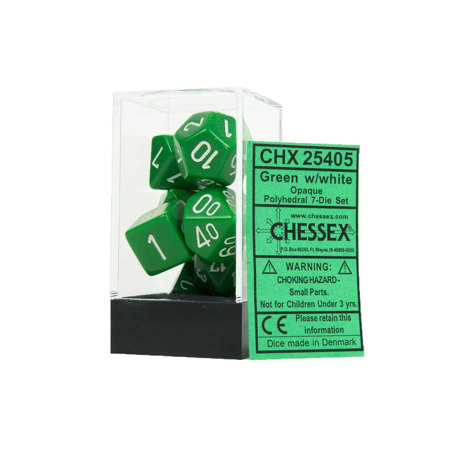 Chessex CHX25405 Opaque Green w/white Polyhedral Dice Set