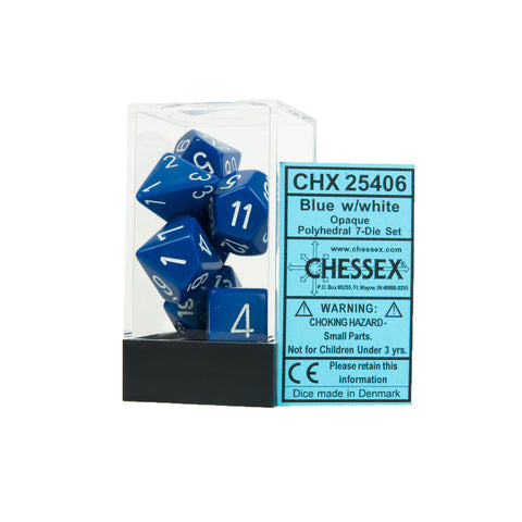 Chessex CHX25406 Opaque Blue w/white Polyhedral Dice Set