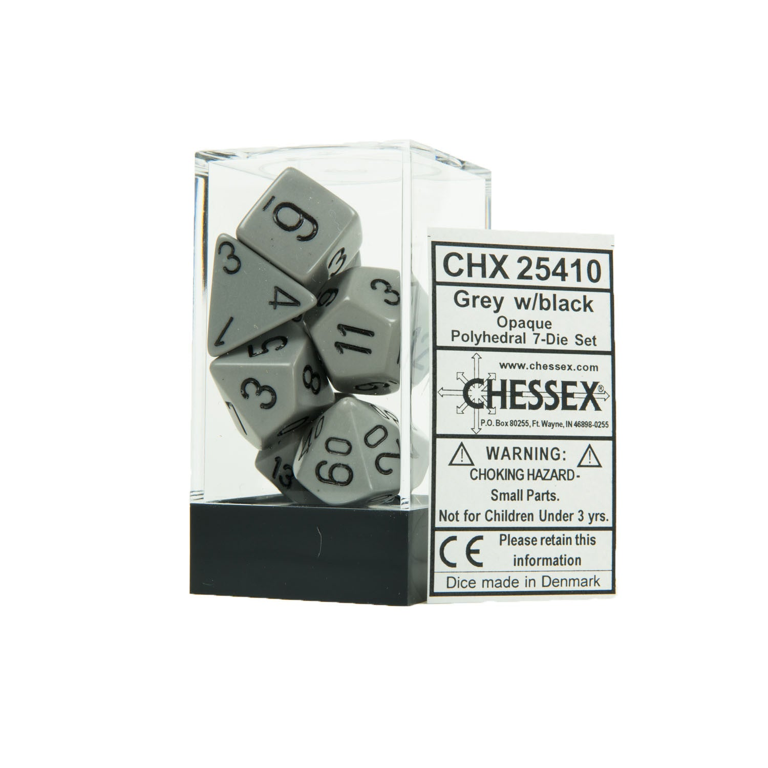 Chessex CHX25410 Opaque Grey w/black Polyhedral Dice Set