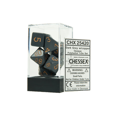 Chessex CHX25420 Opaque Dark Grey w/copper Polyhedral Dice Set