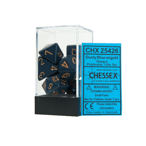 Chessex CHX25426 Opaque Dusty Blue w/gold Polyhedral Dice Set