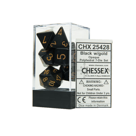 Chessex CHX25428 Opaque Black w/gold Polyhedral Dice Set