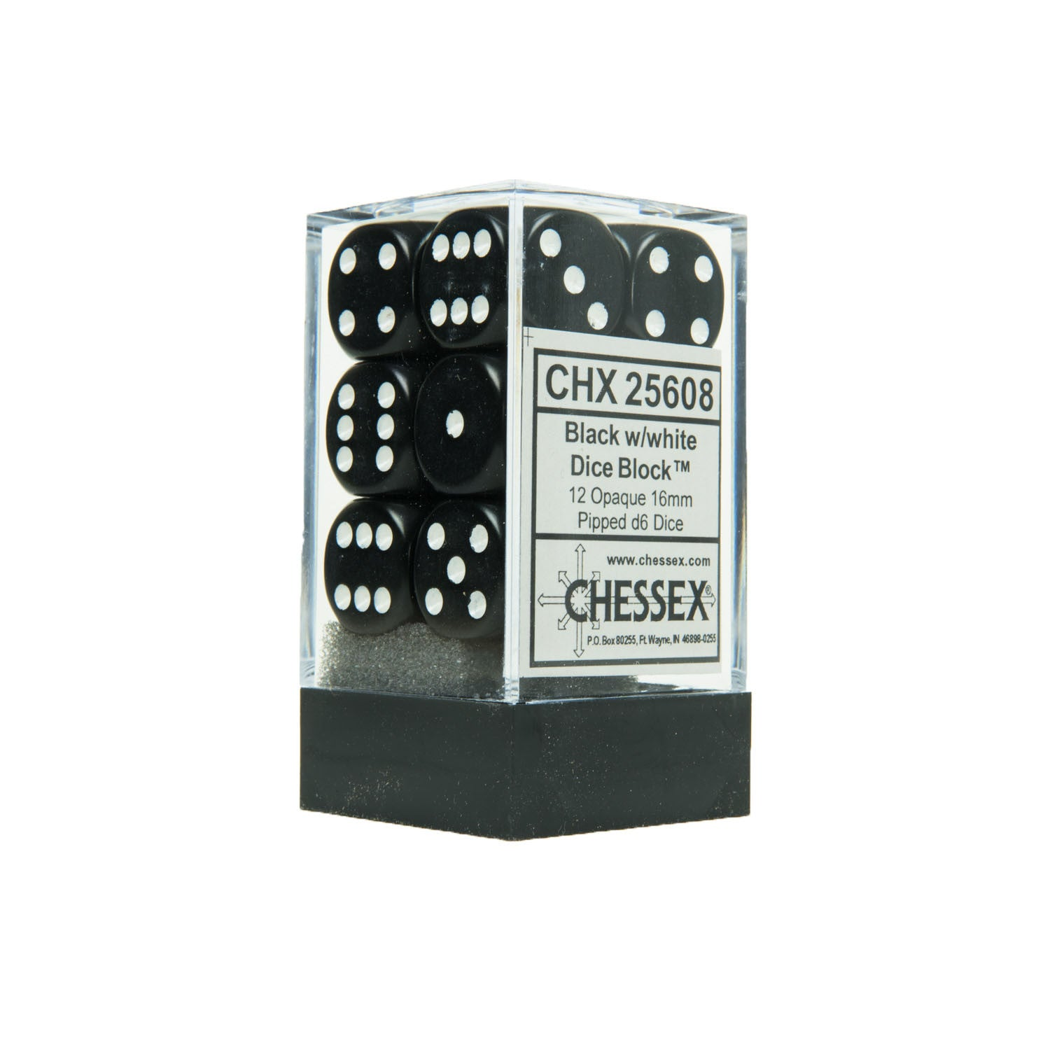 Chessex CHX25608 12 Black w/ white Opaque 16mm d6 Dice