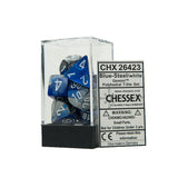 Chessex CHX26423 Blue-Steel w/white Gemini™ Polyhedral Dice Set