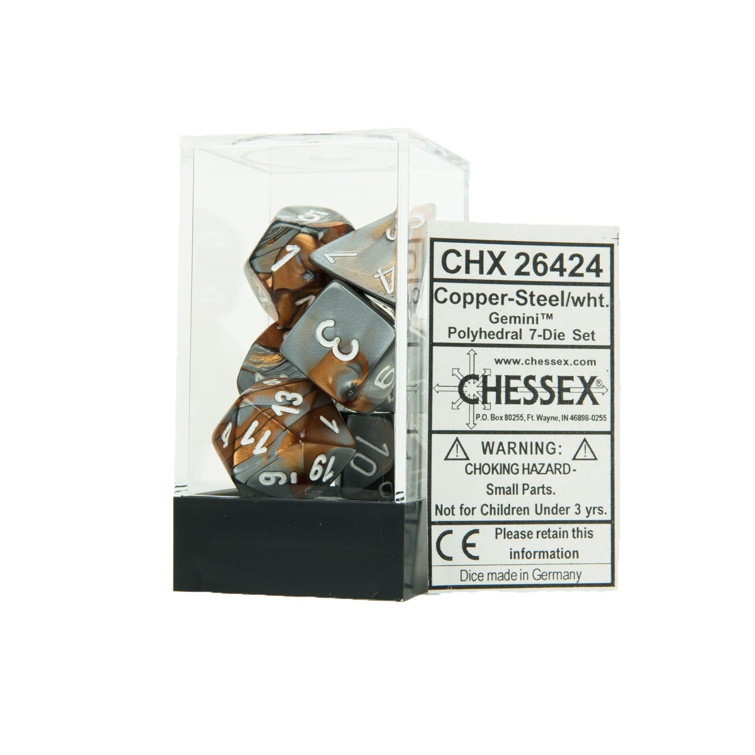 Chessex CHX26424 Copper-Steel w/white Gemini™ Polyhedral Dice Set