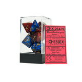 Chessex CHX26429 Blue-Red w/gold Gemini™ Polyhedral Dice Set