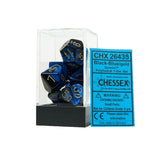 Chessex CHX26435 Black-Blue w/gold Gemini™ Polyhedral Dice Set