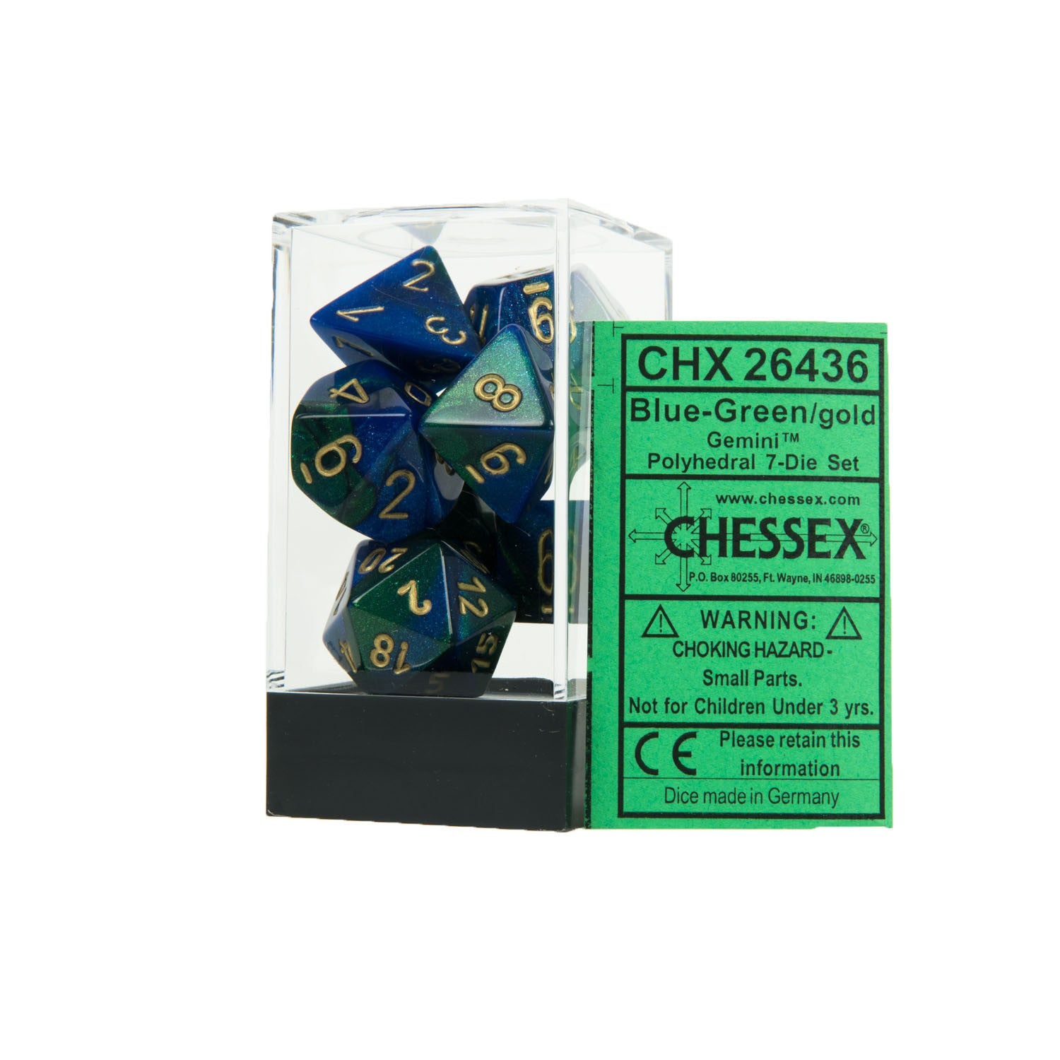 Chessex CHX26436 Blue-Green w/gold Gemini™ Polyhedral Dice Set