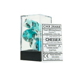 Chessex CHX26444 Teal-White w/black Gemini™ Polyhedral Dice Set