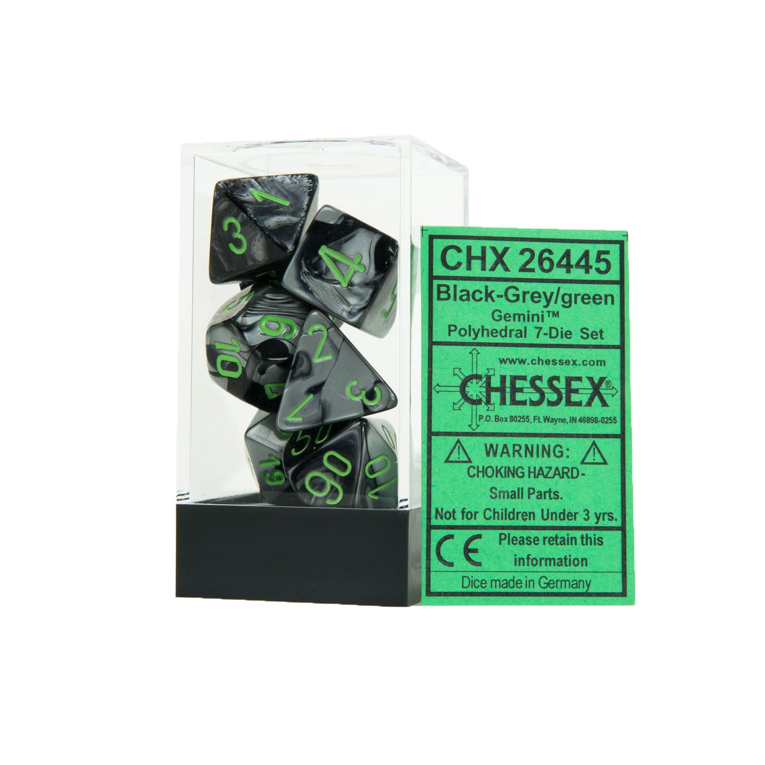 Chessex CHX26445 Black-Grey w/green Gemini™ Polyhedral Dice Set