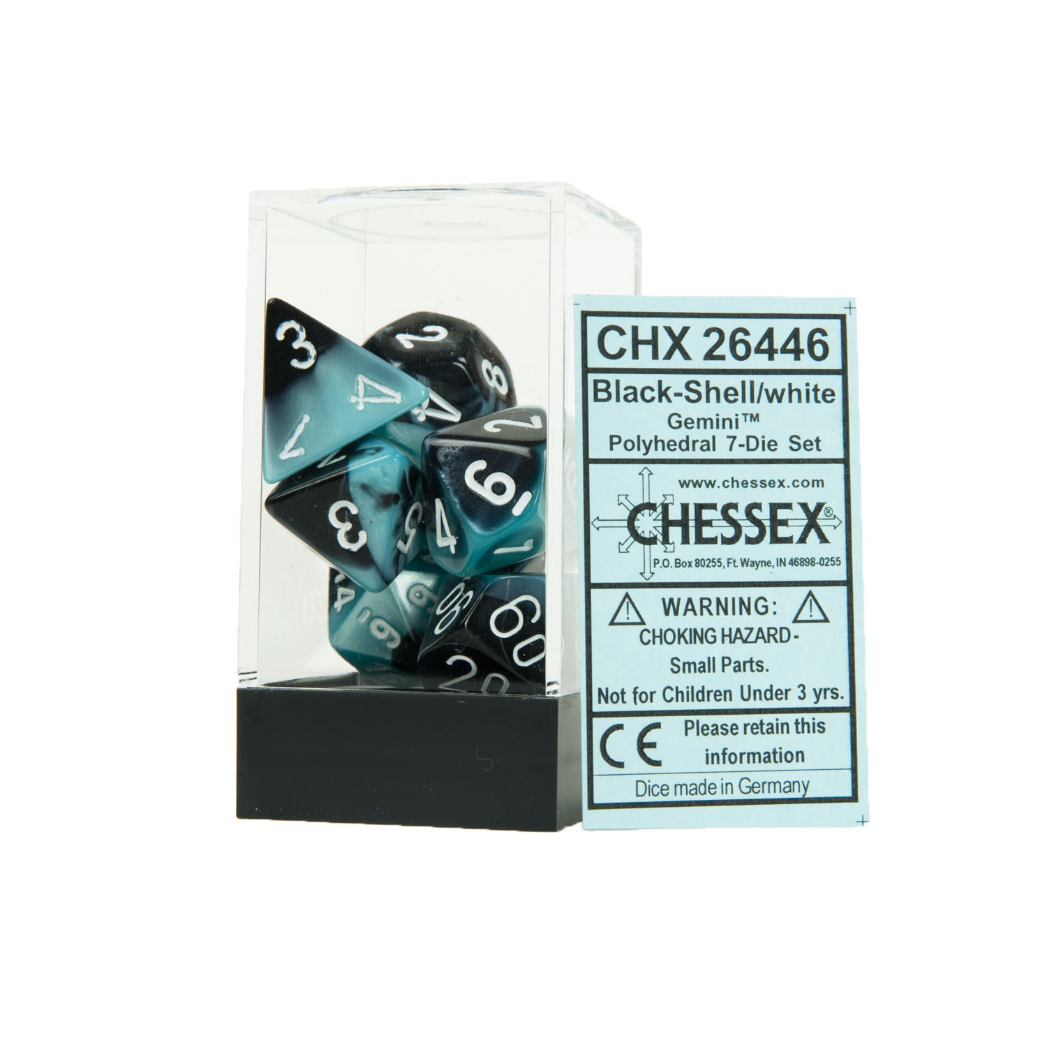 Chessex CHX26446 Black-Shell w/white Gemini™ Polyhedral Dice Set