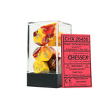 Chessex CHX26450 Red-Yellow w/silver Gemini™ Polyhedral Dice Set