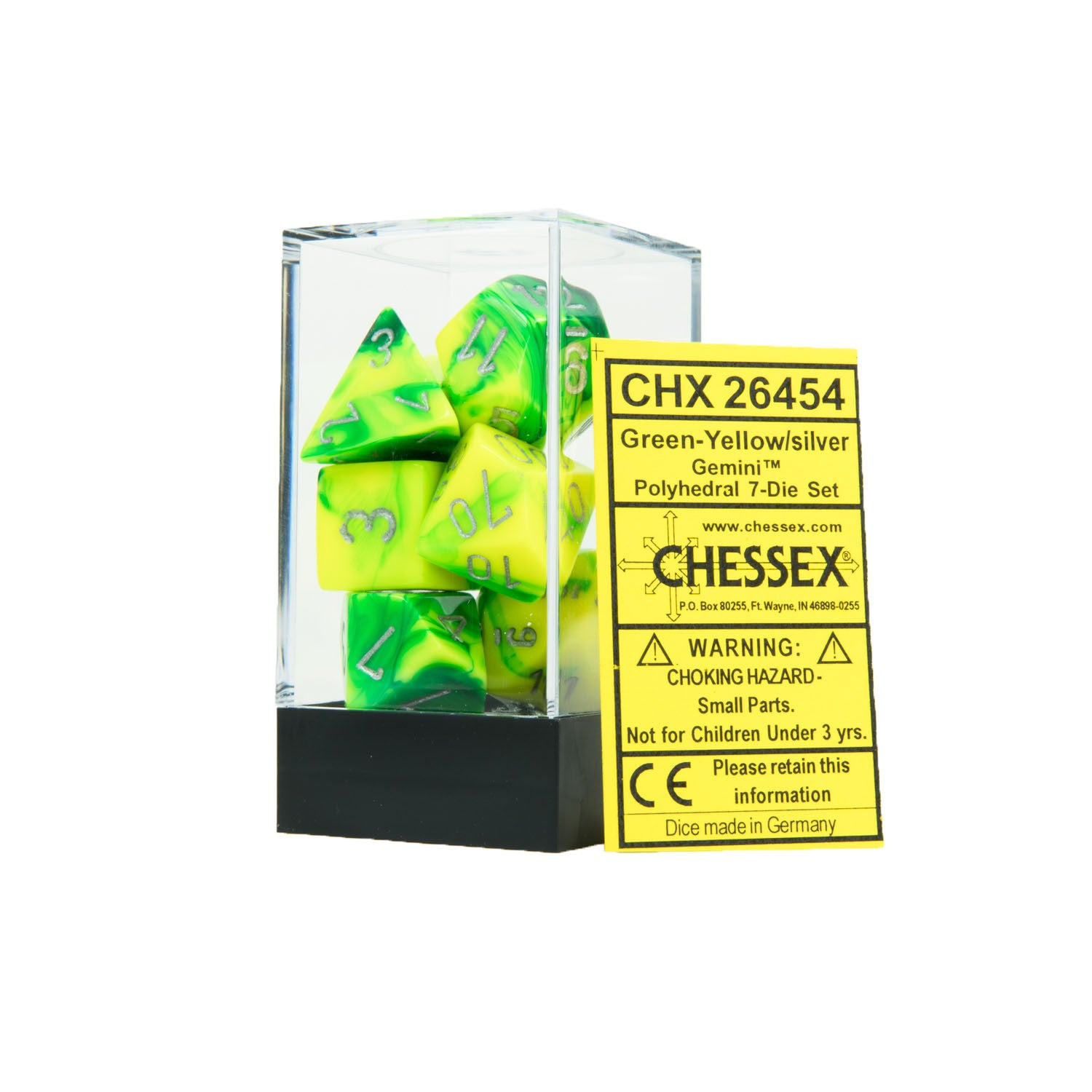 Chessex CHX26454 Green-Yellow w/silver Gemini™ Polyhedral Dice Set