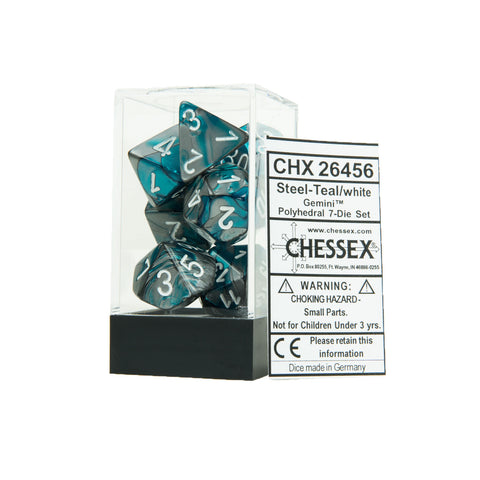 Chessex CHX26456 Steel-Teal w/white Gemini™ Polyhedral Dice Set