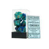 Chessex CHX26459 Blue-Teal w/gold Gemini™ Polyhedral Dice Set