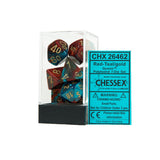 Chessex CHX26462 Red-Teal w/gold Gemini™ Polyhedral Dice Set