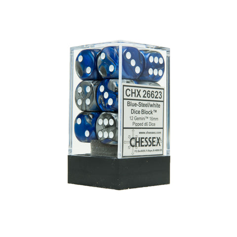 Chessex CHX26623 12 Blue-Steel w/ white Gemini™ 16mm d6 Dice