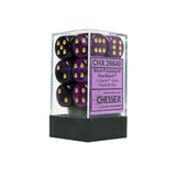 Chessex CHX26640 12 Black-Purple w/ gold Gemini™ 16mm d6 Dice