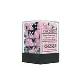 Chessex CHX26830 36 Black-Pink w/ white Gemini 12mm d6 Dice Block
