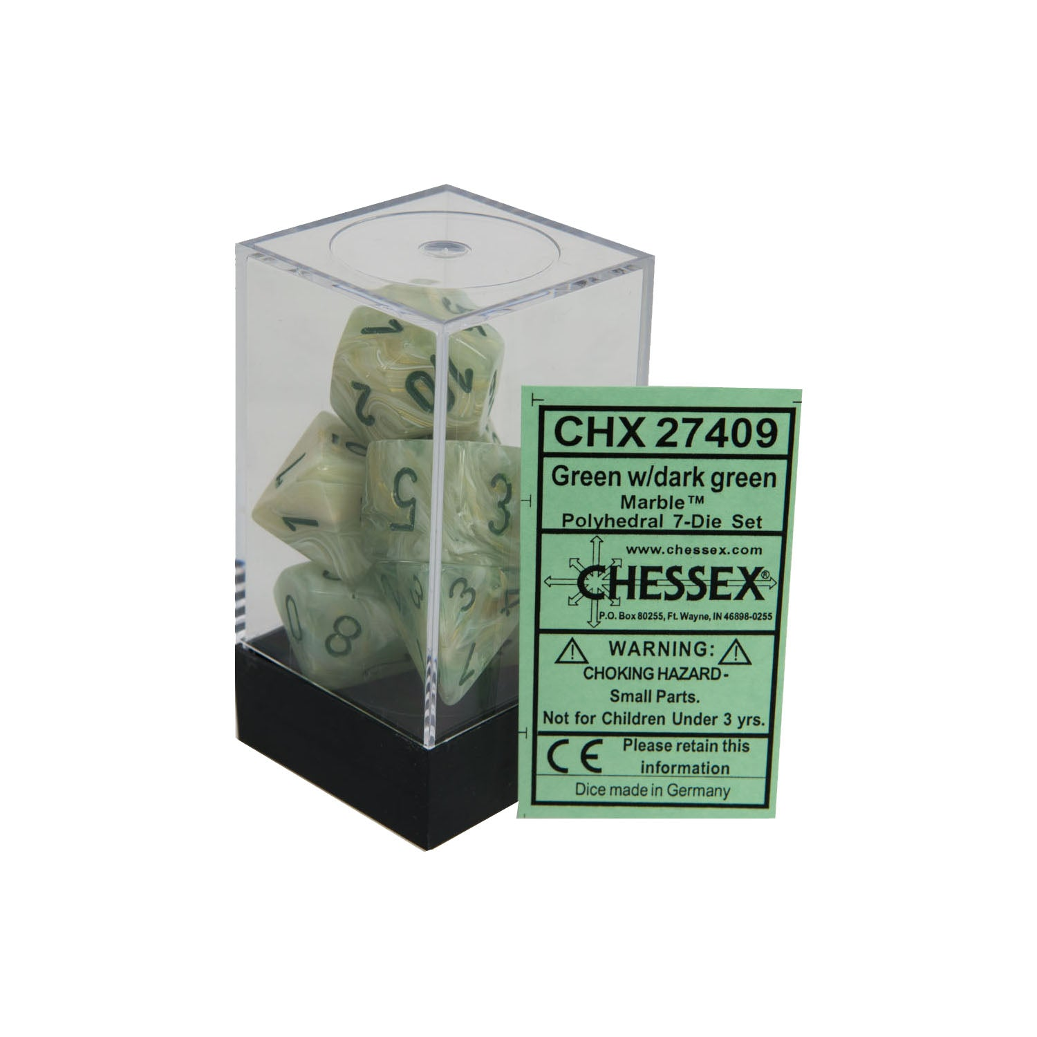Chessex CHX27409 Green w/ dark green Marble™ Polyhedral Dice Set