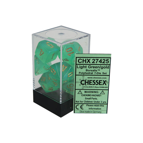 Chessex CHX27425 Light Green w/ gold Borealis™ Polyhedral Dice Set