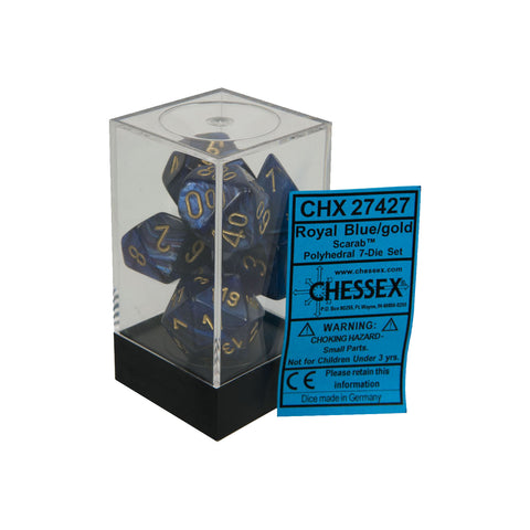 Chessex CHX27427 Royal Blue w/ gold Scarab™ Polyhedral Dice Set