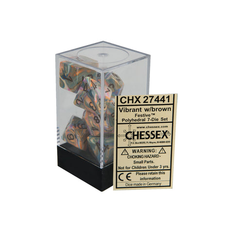 Chessex CHX27441 Vibrant w/ brown Festive™ Polyhedral Dice Set