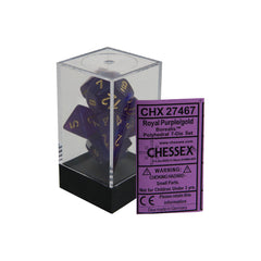 Chessex CHX27467 Royal Purple w/ gold Borealis™ Polyhedral Dice Set