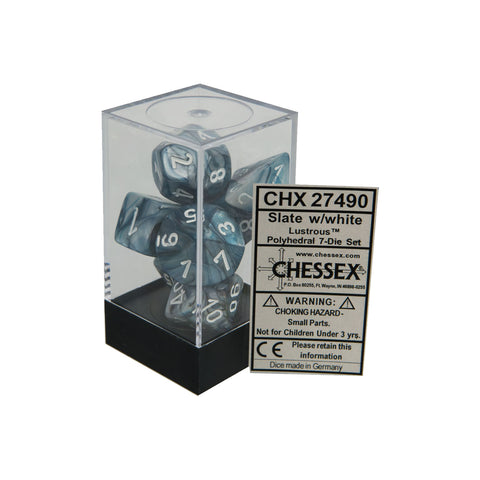 Chessex CHX27490 Slate w/ white Lustrous™ Polyhedral Dice Set