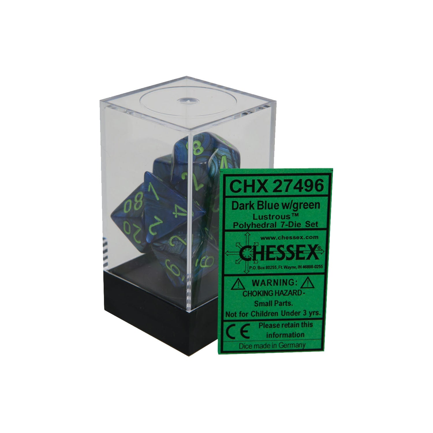 Chessex CHX27496 Dark Blue w/ green Lustrous™ Polyhedral Dice Set