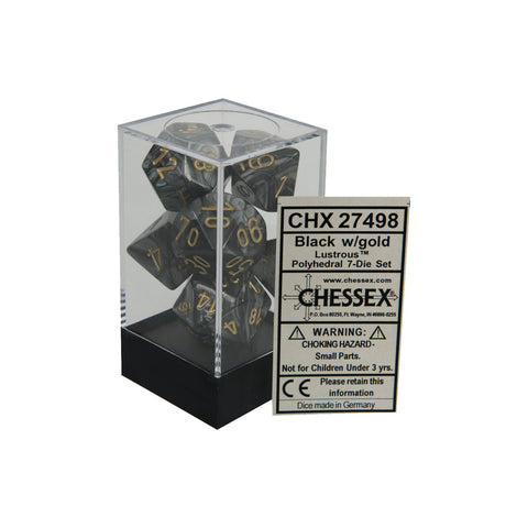 Chessex CHX27498 Black w/ gold Lustrous™ Polyhedral Dice Set