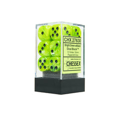 Chessex CHX27630 12 Bright Green w/ black Vortex Dice Block™ 16mm d6 Dice