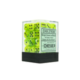 Chessex CHX27830 36 Bright Green w/ black Vortex Dice Block™ 12mm d6 Dice Block