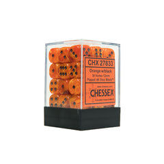 Chessex CHX27833 36 Orange w/ black Vortex Dice Block™ 12mm d6 Dice Block