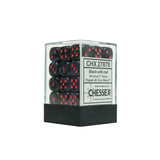 Chessex CHX27878 36 Black w/ red Velvet™ 12mm d6 Dice Block