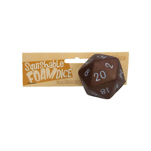 Squishable Foam Dice - 2-inch Chocolate D20