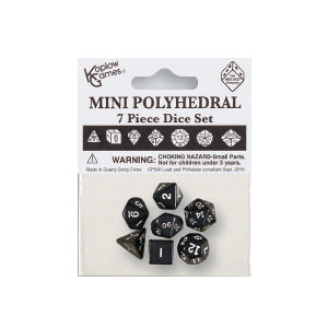 Koplow 18982 7 Piece Mini Polyhedral Dice Set Black/White Ink