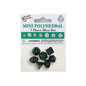 Koplow 18984 7 Piece Mini Polyhedral Dice Set Black/Green Ink