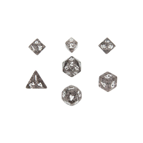 MDG 4203 Ethereal Black w/ White Mini Polyhedral Dice Set