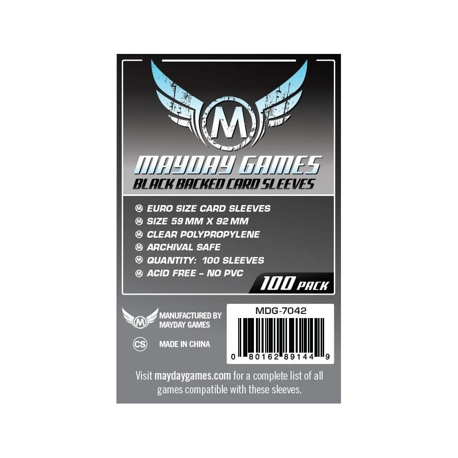 Mayday MDG-7042 Black Backed Euro Card Sleeves (100)
